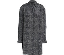 Checked silk mini shirt dress