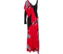 Asymmetric ruffled printed stretch-silk gown