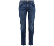 Frayed High-rise Slim-leg Jeans Dark Denim  5