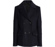 Double-breasted Wool-blend Felt Coat Midnight Blue