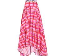 Ruffled gingham cotton-blend poplin midi skirt
