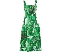 Woman Appliquéd Printed Cotton And Silk-blend Jacquard Midi Dress Green