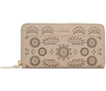 Laser-cut Textured-leather Continental Wallet Neutral Size --