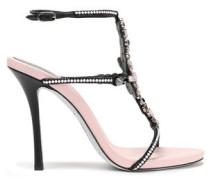 Embellished Laser-cut Suede Sandals Black