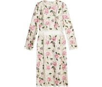 Cutout embroidered silk-blend dress