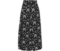 Floral-jacquard Midi Skirt Black