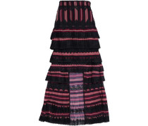 Asymmetric Lace-trimmed Pleated Striped Crepe Midi Skirt Multicolor Size 0