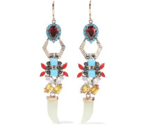 Gold-tone, Crystal And Stone Earrings Multicolor Size --