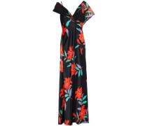 Floral-print Silk-satin Maxi Dress Black