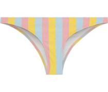 The Rachel Metallic Striped Low-rise Bikini Briefs Marigold