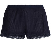 Lace-trimmed Ribbed Jersey Pajama Shorts Navy