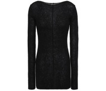 Woman Mélange Ribbed-knit Sweater Black