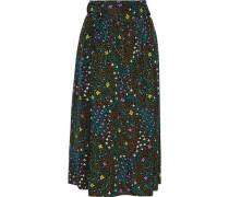 Woman Betty Floral-print Silk Crepe De Chine Wrap Skirt Black