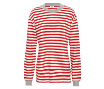 Striped Cotton-jersey Pajama Top Red