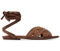 Lace-up Studded Suede Sandals Brown
