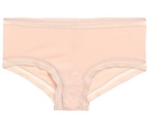 Crochet-trimmed Cotton-jersey Mid-rise Thong Blush  /M