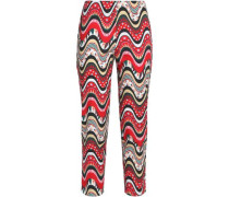 Printed cotton-blend straight-leg pants