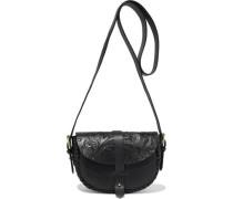 Woman Kailo Embossed Leather Shoulder Bag Black