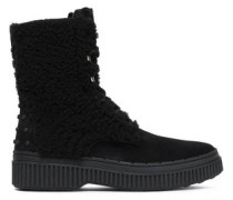 Studded Suede And Shearling Ankle Boots Black