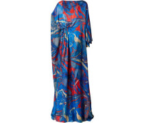 Lady Liberty Cape-back Printed Crepe De Chine Gown Bright Blue