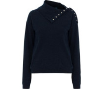 Woodman Snap-detailed Cashmere Sweater Midnight Blue