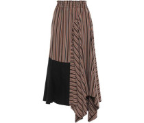 Asymmetric Poplin-paneled Striped Twill Skirt Light Brown