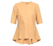 Cotton-poplin Peplum Top Sand