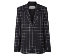 Woman Lace-up Checked Wool-crepe Blazer Midnight Blue