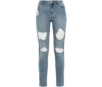 Embroidered Distressed High-rise Skinny Jeans Mid Denim Size 0