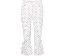Palmas Cropped Ruffled Printed Poplin Straight-leg Pants White