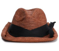 Bow-embellished Grosgrain-trimmed Straw Sun Hat Chocolate