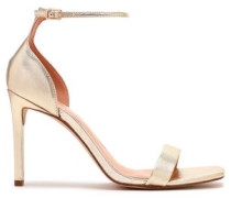 Myra Velvet And Patent-leather Sandals Platinum