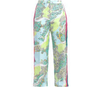 Cropped Lace-trimmed Floral-print Silk-twill Wide-leg Pants Sky Blue
