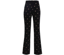 Embroidered Cotton-velvet Straight-leg Pants Black