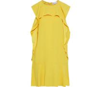 Woman Ruffled Draped Crepe Mini Dress Yellow
