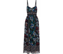 Denim-trimmed floral-print silk maxi dress