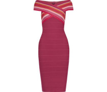 Woman Off-the-shoulder Striped Bandage Dress Magenta