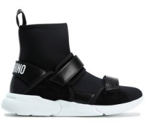 Leather-trimmed Neoprene High-top Sneakers Black