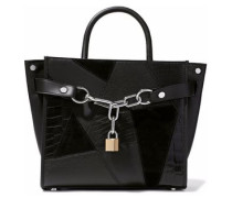 Chain-embellished textured-leather and suede tote