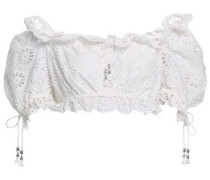 Lumino Daisy Off-the-shoulder Cropped Broderie Anglaise Cotton Top Ivory