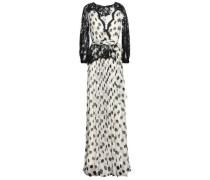 Wrap-effect lace-paneled polka-dot silk-blend georgette gown