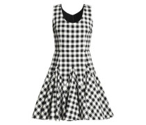 Pleated gingham cotton mini dress