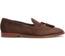 Tassel-trimmed Suede Loafers Chocolate