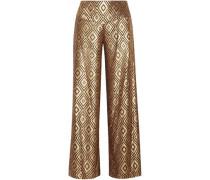 Metallic devoré-chiffon wide-leg pants