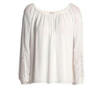Macram�-paneled crinkled gauze blouse