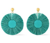 Gold-tone, Bead, Raffia And Resin Earrings Turquoise Size --