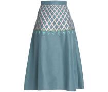 Flared embroidered cotton-faille midi skirt