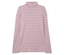 Woman Striped Stretch-jersey Turtleneck Top Lilac