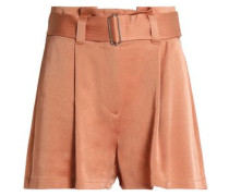 Belted pleated crepe shorts