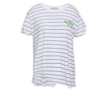 Distressed Striped Slub Cotton-jersey T-shirt White